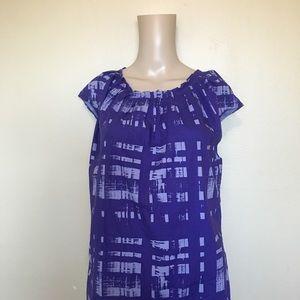 Michael Kors Purple Print Cap Sleeved Shirt